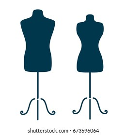 Vintage tailor s mannequin for female and male body isolated on white background. Design template for label, banner, badge, logo.