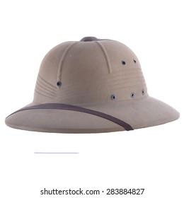 Vintage Tan Safari Helmet Isolated