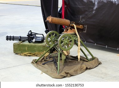 Vintage tape machine gun of the early twentieth century, modern outdated  six-barrel machine gun, a German World War II submachine gun
