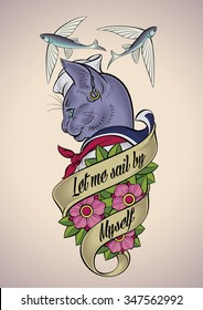 Vintage tattoo design of a cat-sailor belted with a banner and dog-roses. Raster image.