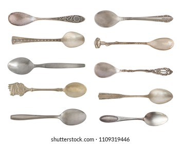 Vintage tea beautiful spoons isolated on a white background. Rustic style. Silverware.