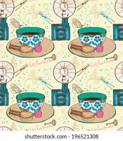 Vintage tea time background. Illustration for design, seamless pattern