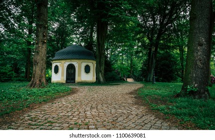 Vintage teehouse in a park. Recorded in Poland.