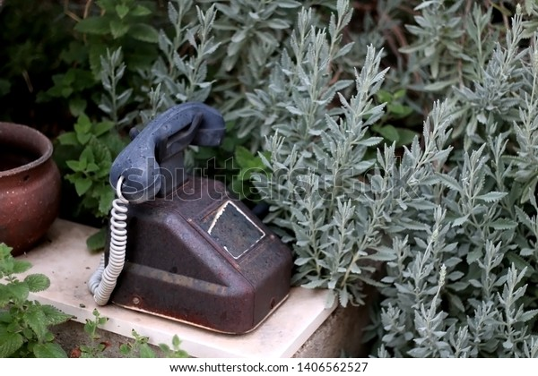 Vintage telephone set as decoration in a garden. Selective focus.
