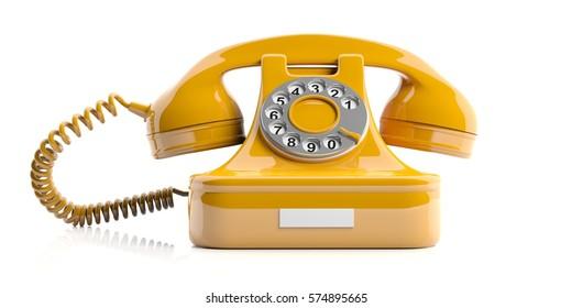 Vintage telephone. Yellow old phone isolated on white background. 3d illustration
