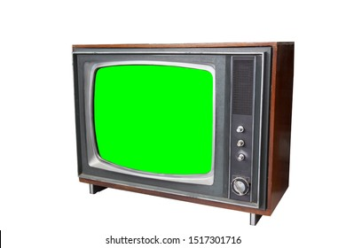 the vintage  television with chroma green screen. TV on white background. technology of the past.