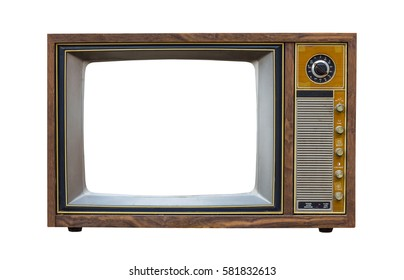 Vintage television with cut out screen on Isolated background - Shutterstock ID 581832613