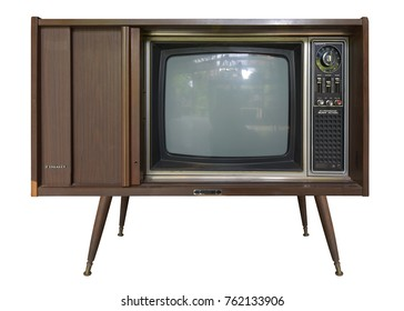 Vintage television with cut out screen on Isolated background. This has clippimh path.