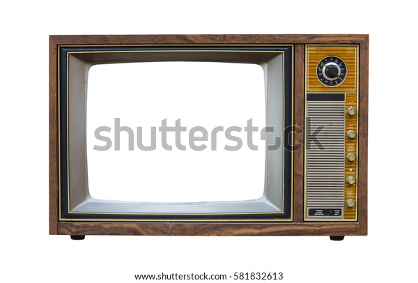 Vintage television with cut out screen on Isolated background