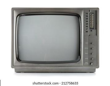 Vintage television isolate on white ,retro technology