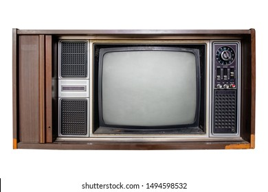 Vintage television - Old TV  isolate on white with clipping path for object. retro technology
