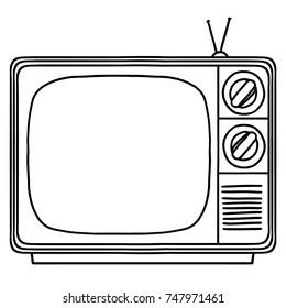 Vintage television set outline illustration; TV set drawing