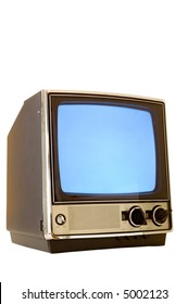 Vintage television set turned on with snowy screen, screen could be used for copy space, on white background