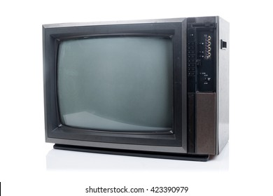 Vintage Television with shadow on white background