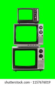 Vintage television tower isolated with chroma green background and screens.