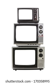 Vintage televisions with cut out screens.