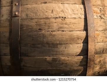 Vintage texture - oak barrel closeup detail, nail