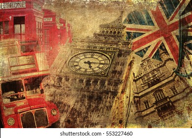 vintage textured collage with icons of London
