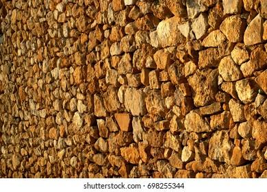 Vintage textured stone brick wall background texture solid design banner Wallpaper