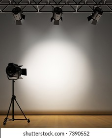 A vintage theater spotlight on a white background