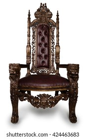 Vintage Throne Chair isolated on White Background