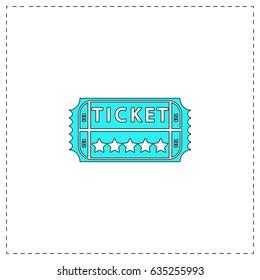 Vintage Ticket. Blue simple pictogram with black stroke on white background. Flat icon illustration