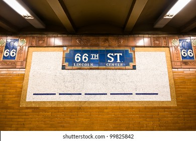 Vintage tile subway sign at platform at landmark NYC Lincoln Center stop