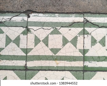 Vintage Tile at Weathered Grungy Cracked Texture Background. Heritage Element