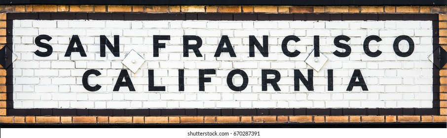 Vintage Tiled Sign At A Railway Station In San Francisco California