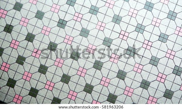 Vintage Tiles in Pink and Green
