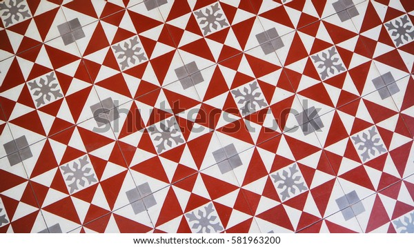 Vintage Tiles in Red and Grey