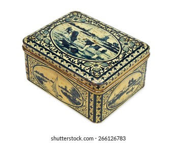 Vintage tin box isolated on the white background