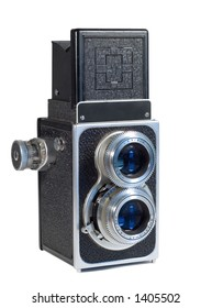Vintage TLR Camera Isolated on White