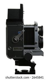 Vintage TLR medium format camera camera, Side view, on white