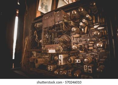 Vintage tone antique machine inside on television