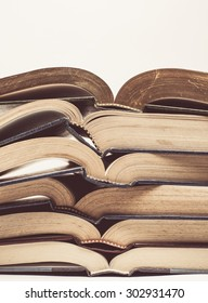 Vintage tone of Composition with stack of books on white background
