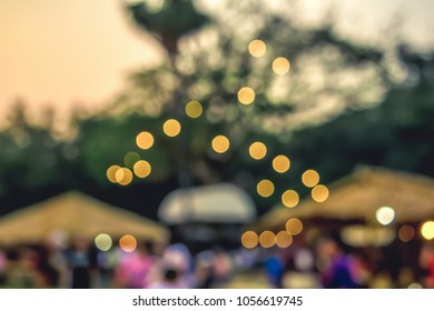 (Vintage tone) Festival Event day Blurred defocused Bokeh abstract Background