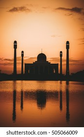 vintage tone of mosque at the sunset time