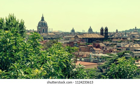 Vintage toned Panorama of Rome in Italy