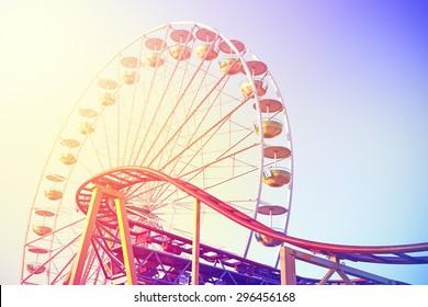 Vintage toned picture of an amusement park.