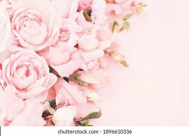 Vintage-farbene rosafarbene Rosenblumen Rahmen, blühender pastellfarbener festlicher Hintergrund, weiche rosa Blumenkarte, selektiver Fokus