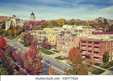 Vintage toned Salt Lake City downtown in autumn, Utah, USA.