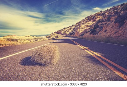 Vintage toned tumbleweed on empty road, travel concept picture.
