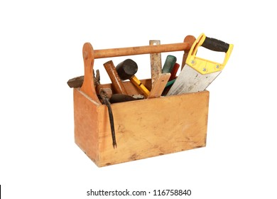 Vintage Toolbox with tools. Skrewdriver, hammer, handsaw