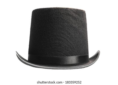 A vintage top hat isolated on white.