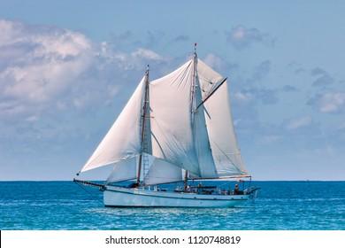 Vintage topsail schooner in New Zealand