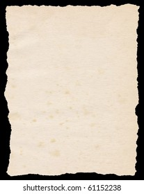 Vintage torn paper isolated on a black background.