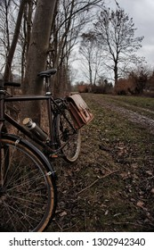 vintage touring bicycle with leather panniers leaning on a tree next to a dirt road