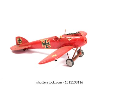 Vintage Toy Aeroplane on White Background