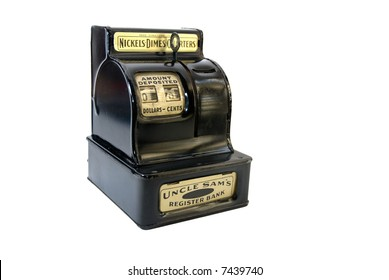 Vintage toy cash register isolated on white background